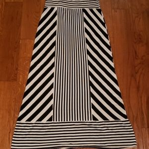 AGB black and white striped maxi skirt